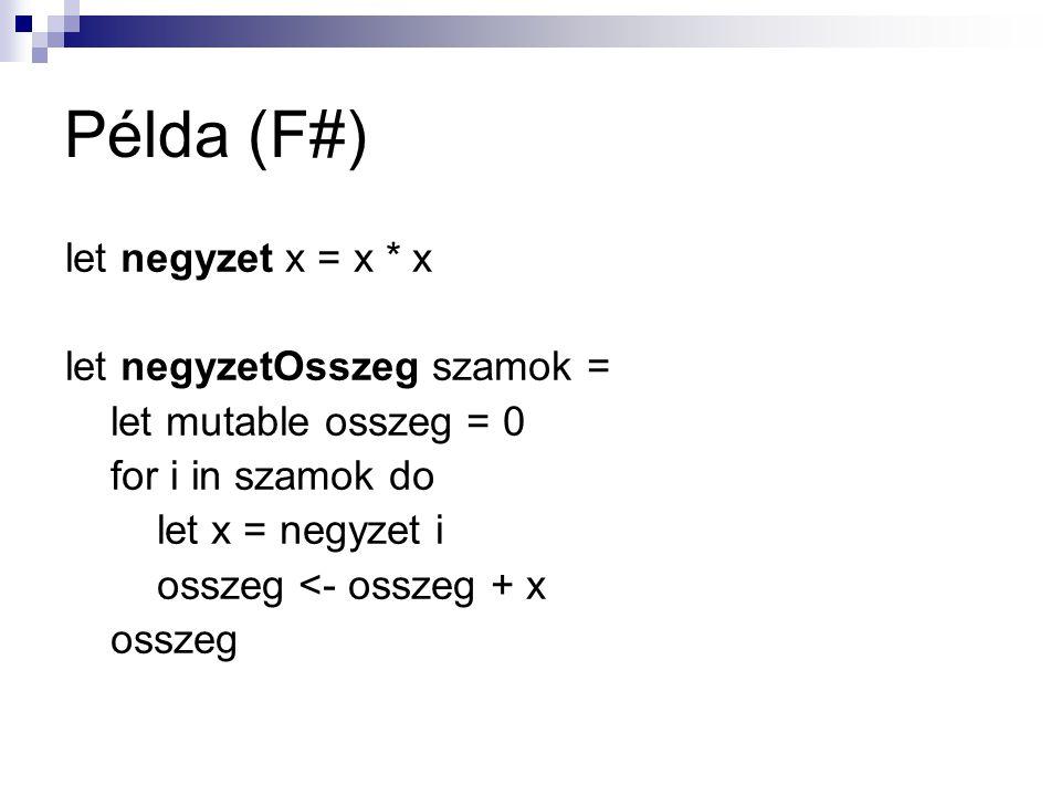 Példa (F#) let negyzet x = x * x let negyzetOsszeg szamok =