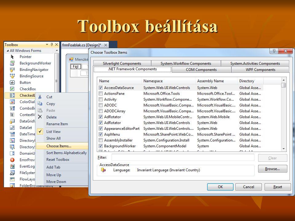 Toolbox beállítása 15