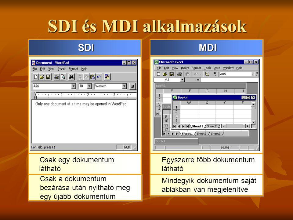 SDI és MDI alkalmazások