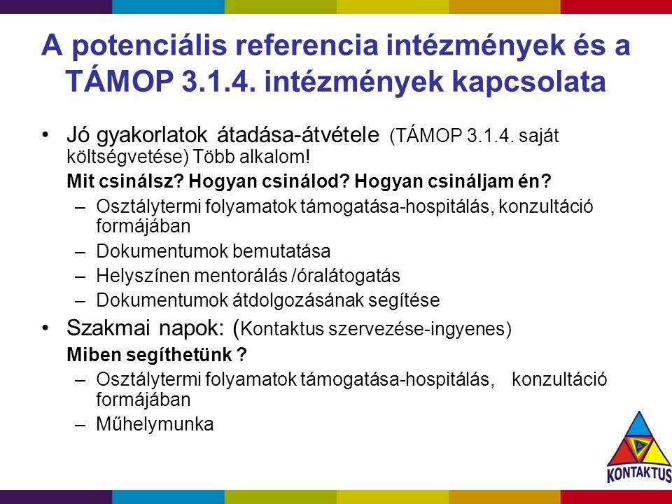 A potenciális referencia intézmények és a TÁMOP 3. 1. 4