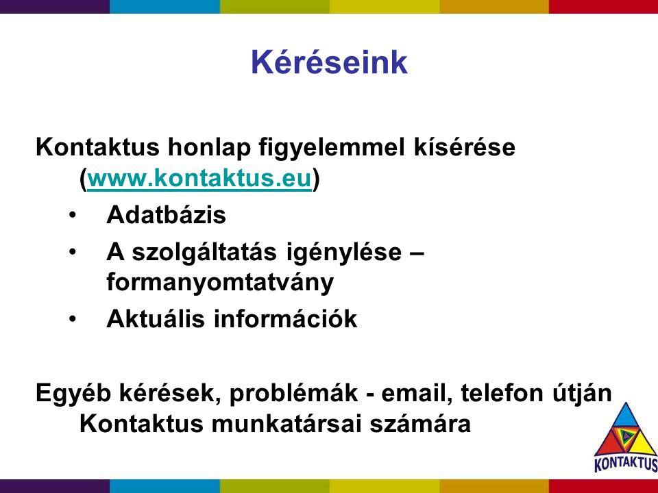 Kéréseink Kontaktus honlap figyelemmel kísérése (www.kontaktus.eu)