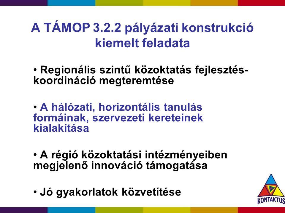 A TÁMOP 3.2.2 pályázati konstrukció kiemelt feladata