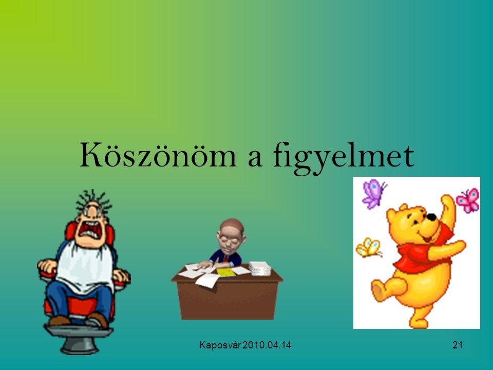 Köszönöm a figyelmet Kaposvár 2010.04.14.