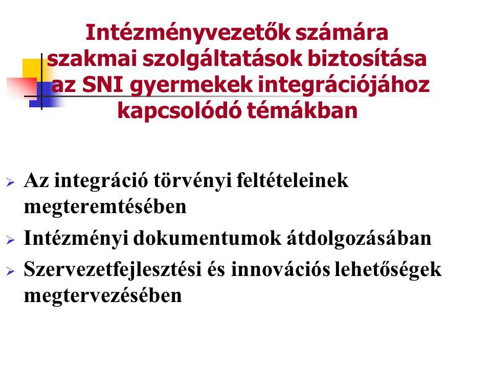 Az integráció törvényi feltételeinek megteremtésében