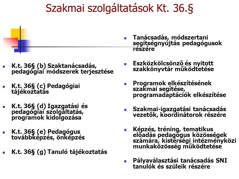 Szakmai szolgáltatások Kt. 36.§