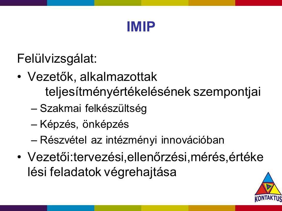 IMIP Felülvizsgálat: Vezetők, alkalmazottak teljesítményértékelésének szempontjai. Szakmai felkészültség.