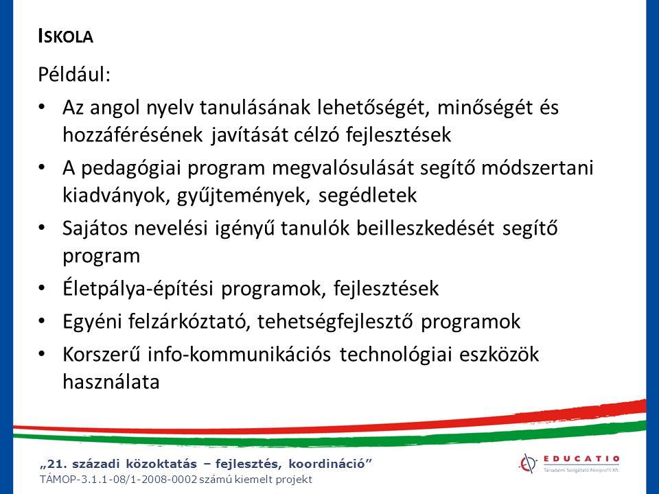 Iskola Például: Az angol nyelv tanulásának lehetőségét, minőségét és hozzáférésének javítását célzó fejlesztések.