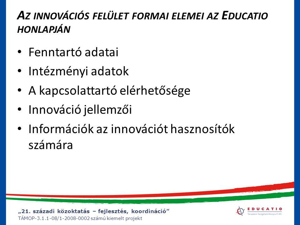 Az innovációs felület formai elemei az Educatio honlapján