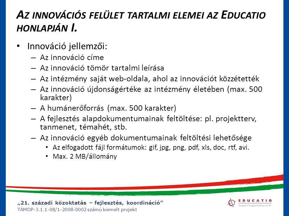 Az innovációs felület tartalmi elemei az Educatio honlapján I.