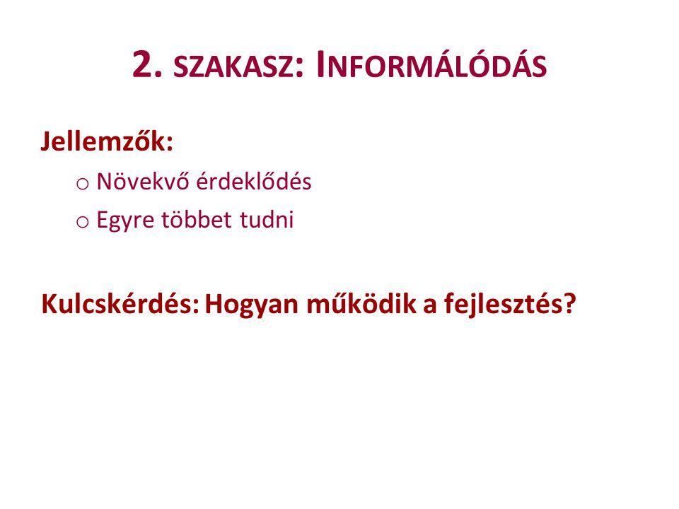 2. szakasz: Informálódás