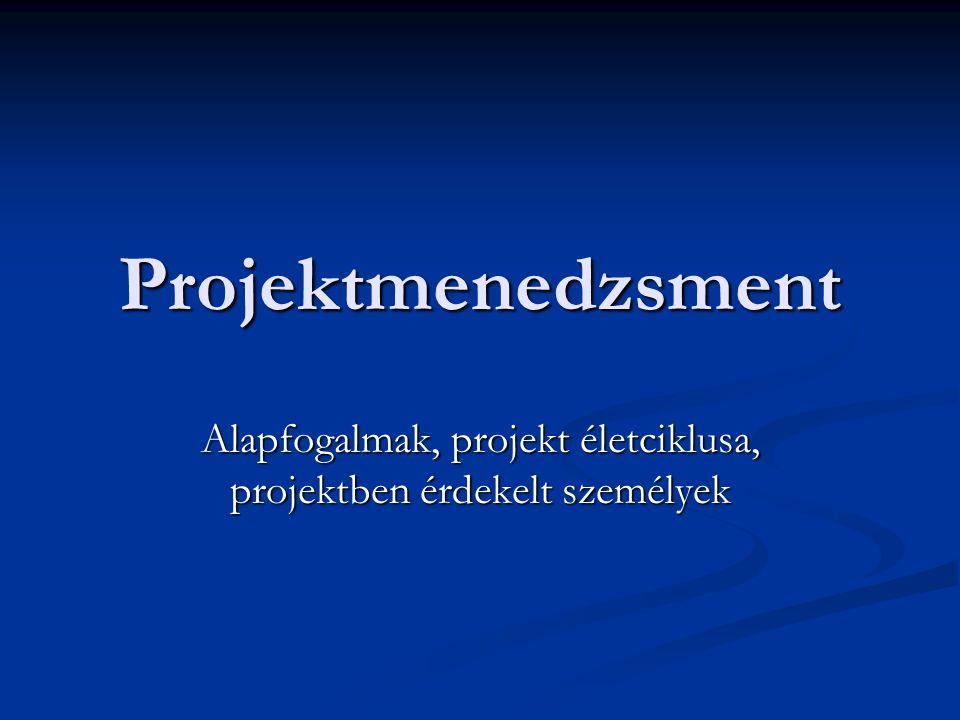 Alapfogalmak, projekt életciklusa, projektben érdekelt személyek