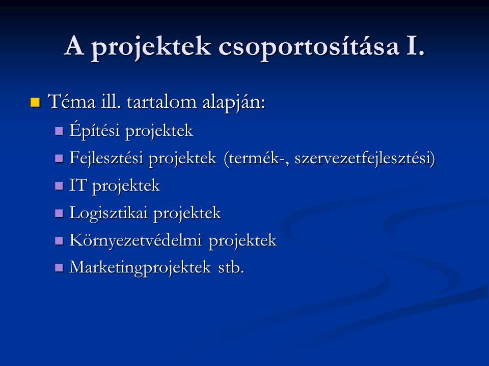 A projektek csoportosítása I.