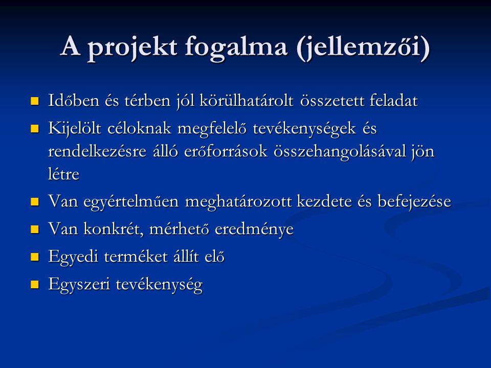 A projekt fogalma (jellemzői)