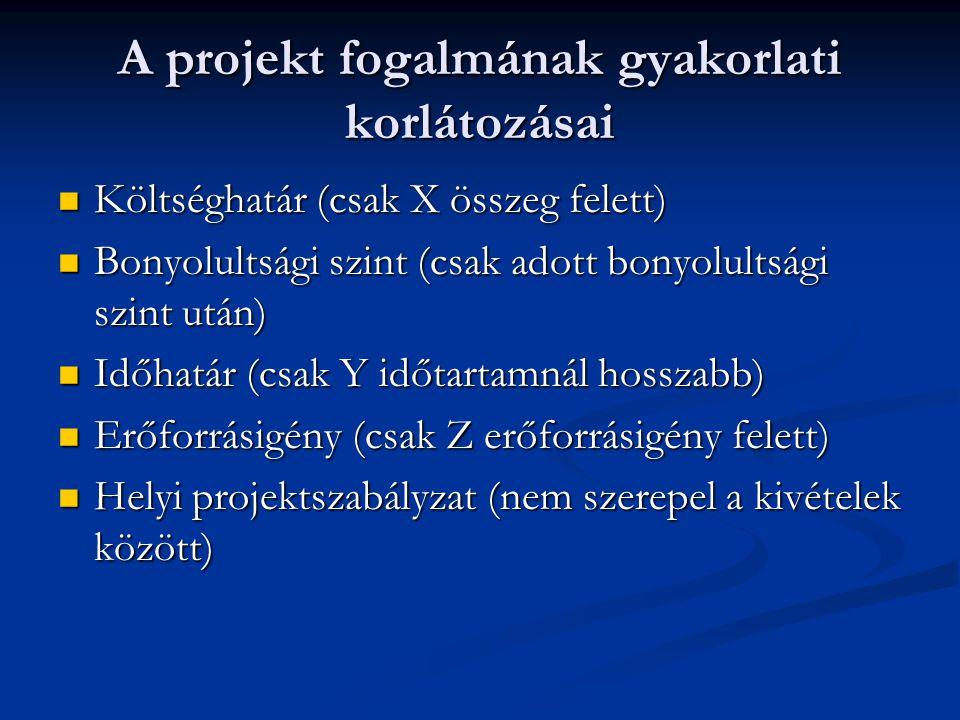 A projekt fogalmának gyakorlati korlátozásai