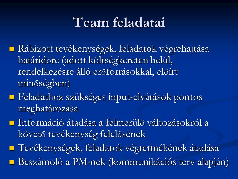 Team feladatai