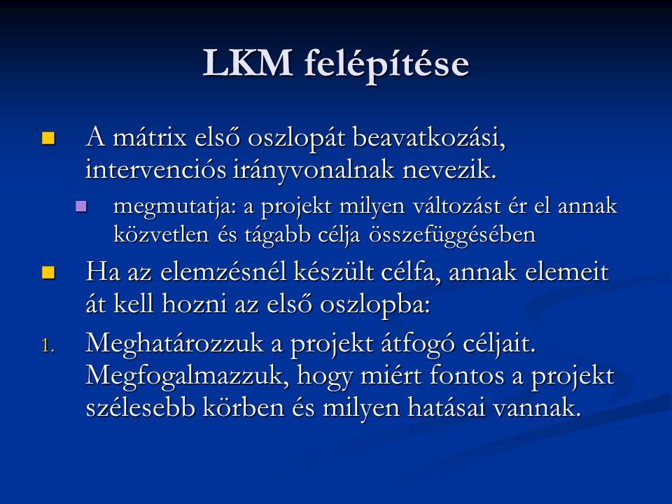 LKM felépítése A mátrix első oszlopát beavatkozási, intervenciós irányvonalnak nevezik.