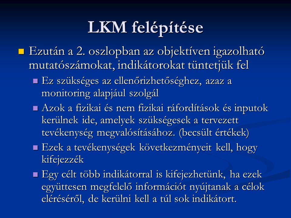 LKM felépítése Ezután a 2. oszlopban az objektíven igazolható mutatószámokat, indikátorokat tüntetjük fel.