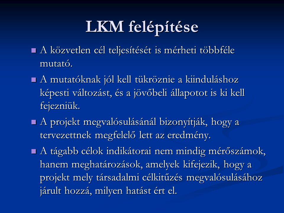 LKM felépítése A közvetlen cél teljesítését is mérheti többféle mutató.