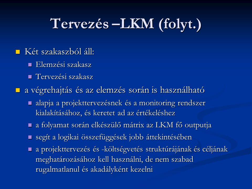 Tervezés –LKM (folyt.) Két szakaszból áll:
