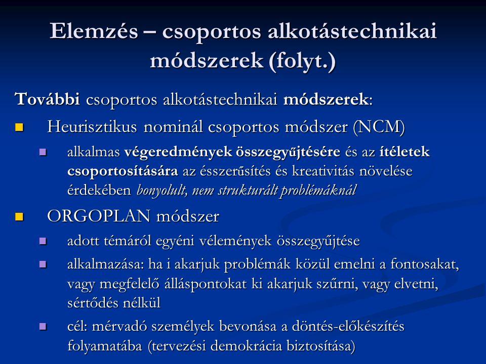 Elemzés – csoportos alkotástechnikai módszerek (folyt.)