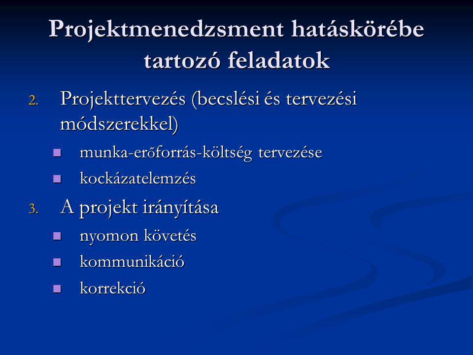 Projektmenedzsment hatáskörébe tartozó feladatok