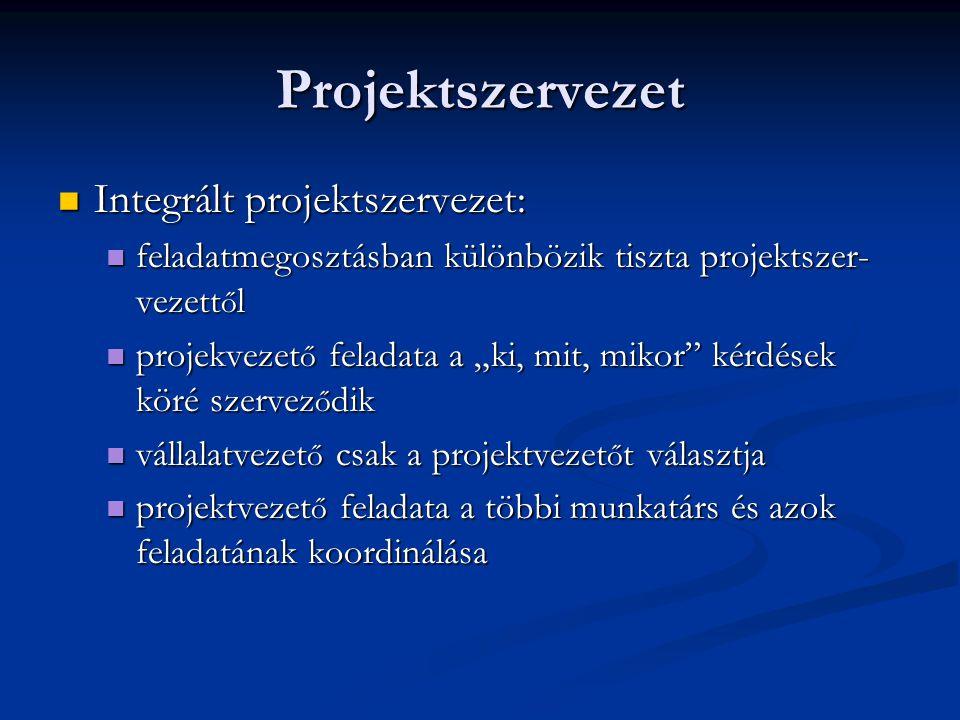 Projektszervezet Integrált projektszervezet: