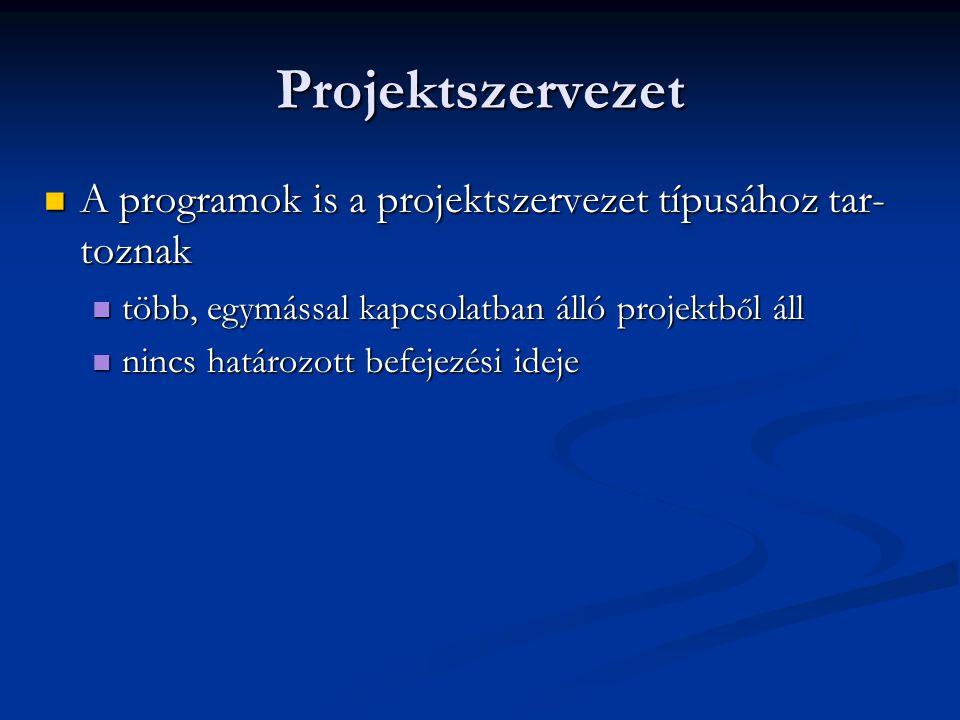 Projektszervezet A programok is a projektszervezet típusához tar-toznak. több, egymással kapcsolatban álló projektből áll.