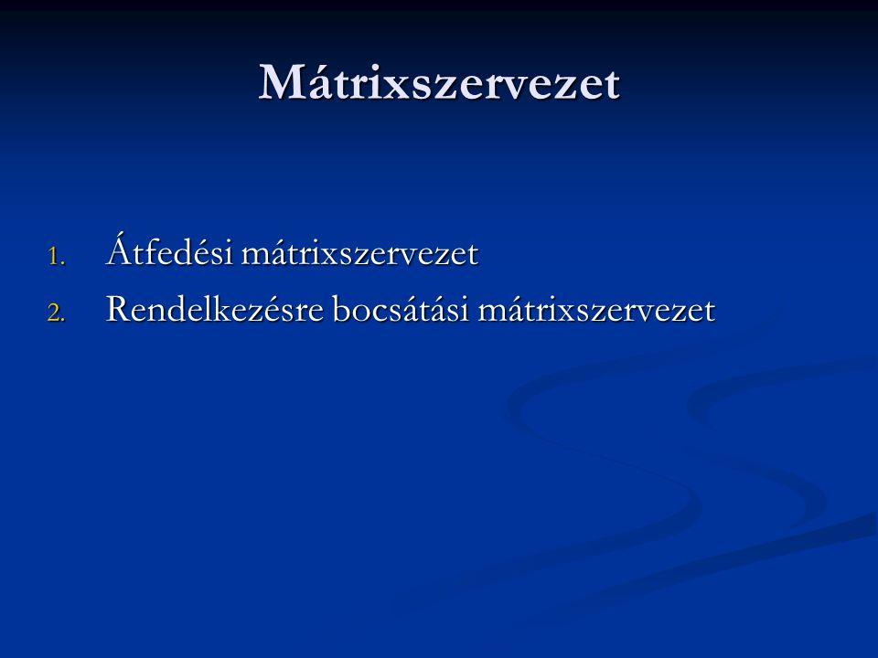 Mátrixszervezet Átfedési mátrixszervezet