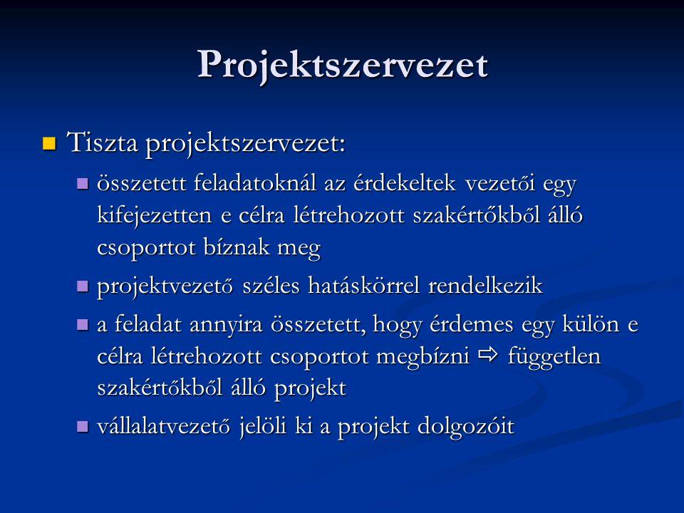 Projektszervezet Tiszta projektszervezet: