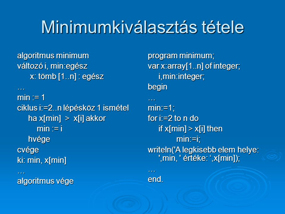 Minimumkiválasztás tétele