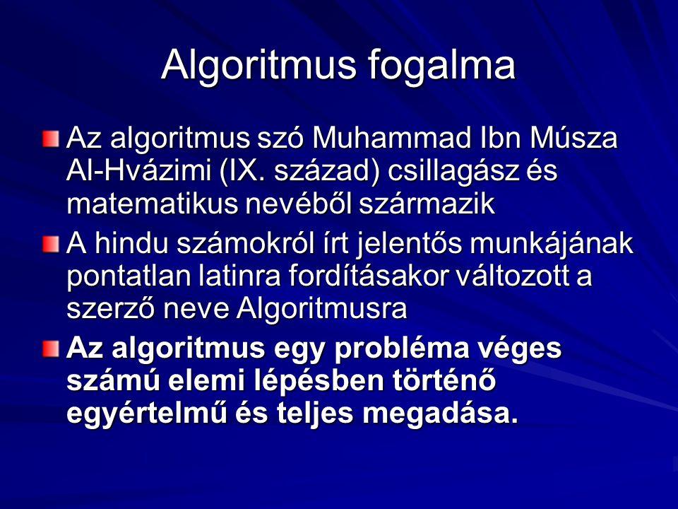 Algoritmus fogalma Az algoritmus szó Muhammad Ibn Músza Al-Hvázimi (IX. század) csillagász és matematikus nevéből származik.
