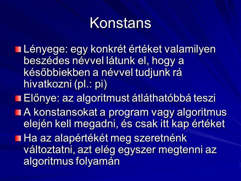 Konstans Lényege: egy konkrét értéket valamilyen beszédes névvel látunk el, hogy a későbbiekben a névvel tudjunk rá hivatkozni (pl.: pi)