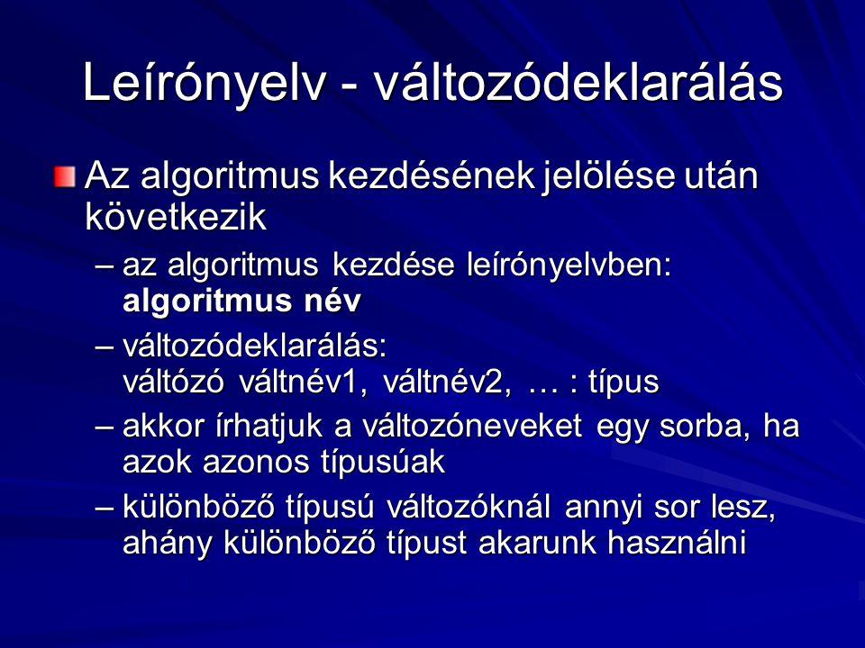 Leírónyelv - változódeklarálás