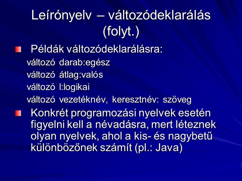 Leírónyelv – változódeklarálás (folyt.)