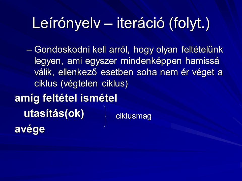 Leírónyelv – iteráció (folyt.)