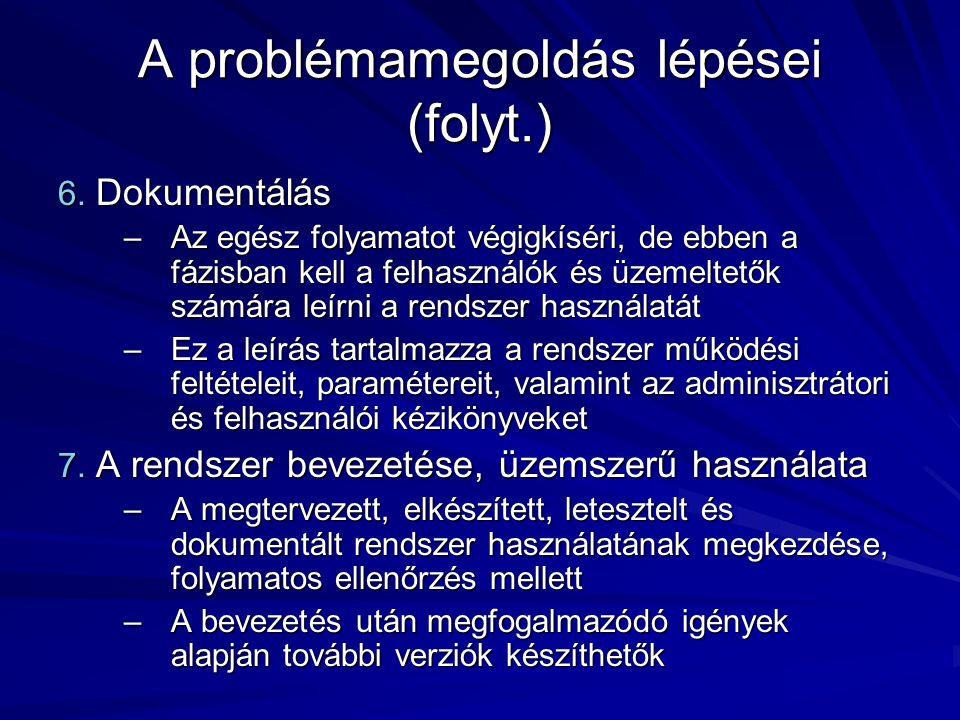 A problémamegoldás lépései (folyt.)