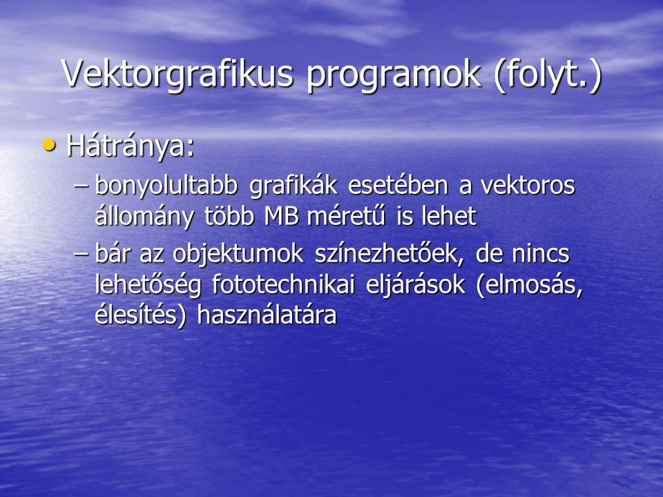 Vektorgrafikus programok (folyt.)