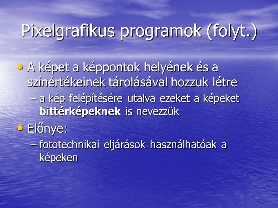Pixelgrafikus programok (folyt.)