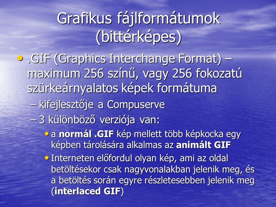 Grafikus fájlformátumok (bittérképes)