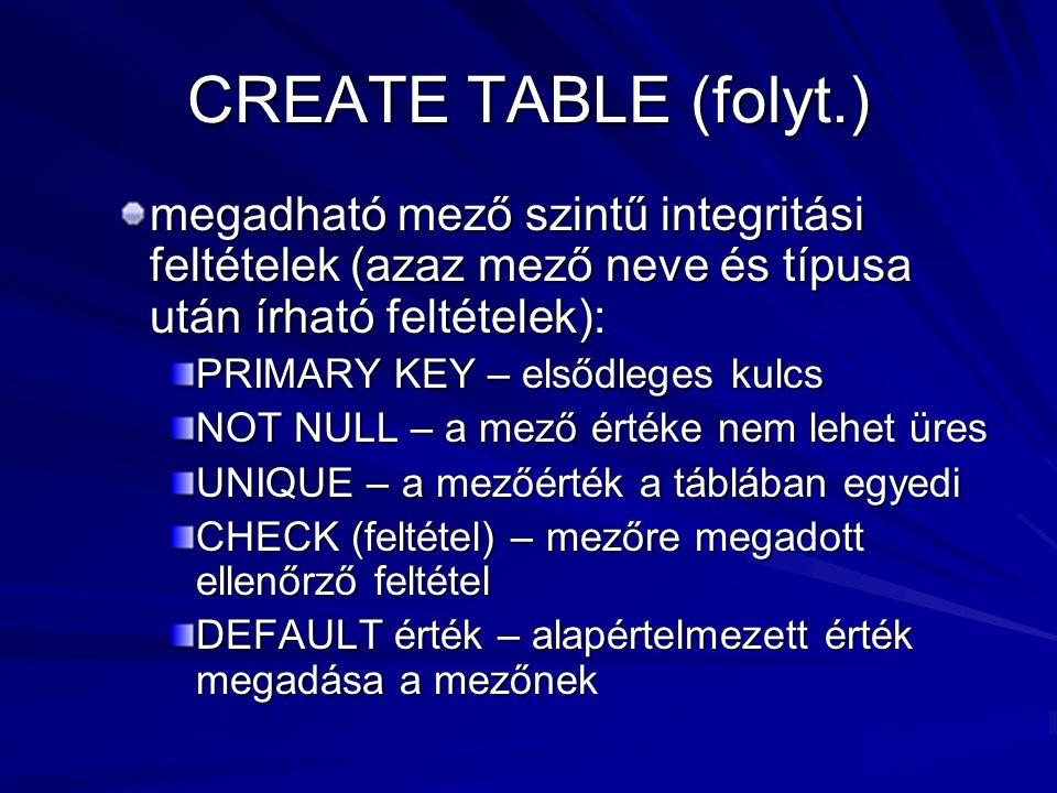 CREATE TABLE (folyt.) megadható mező szintű integritási feltételek (azaz mező neve és típusa után írható feltételek):