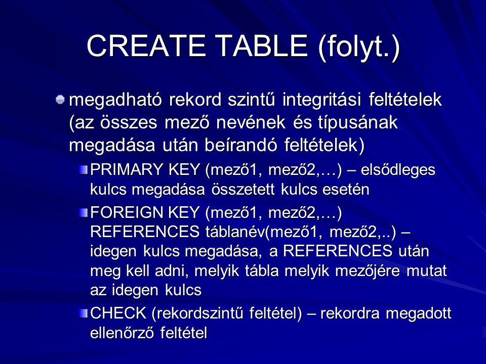 CREATE TABLE (folyt.) megadható rekord szintű integritási feltételek (az összes mező nevének és típusának megadása után beírandó feltételek)