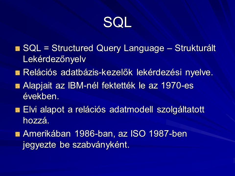 SQL SQL = Structured Query Language – Strukturált Lekérdezőnyelv