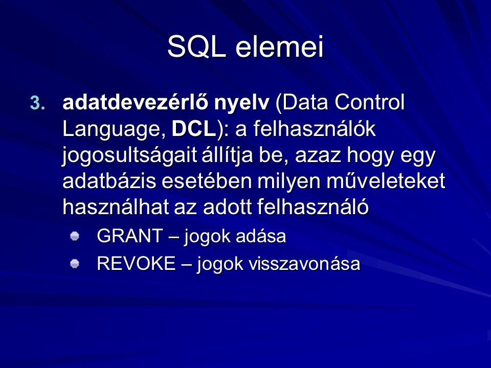 SQL elemei