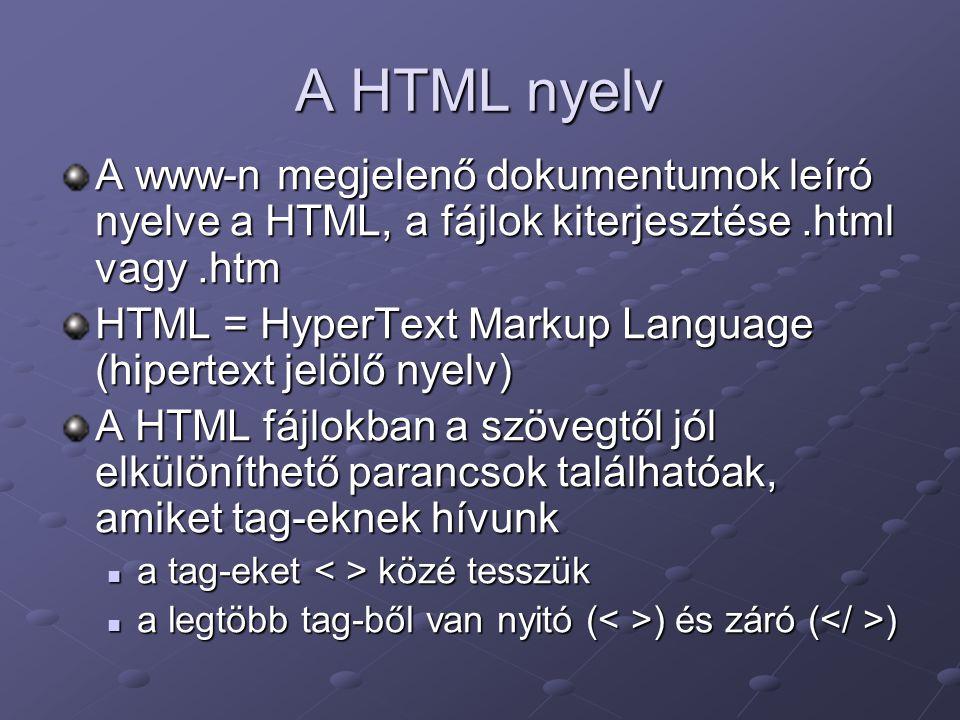 A HTML nyelv A www-n megjelenő dokumentumok leíró nyelve a HTML, a fájlok kiterjesztése .html vagy .htm.