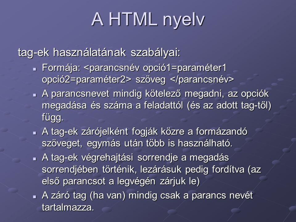 A HTML nyelv tag-ek használatának szabályai: