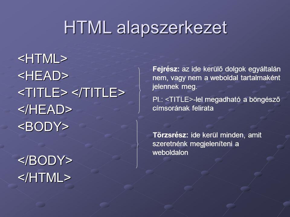 HTML alapszerkezet <HTML> <HEAD>