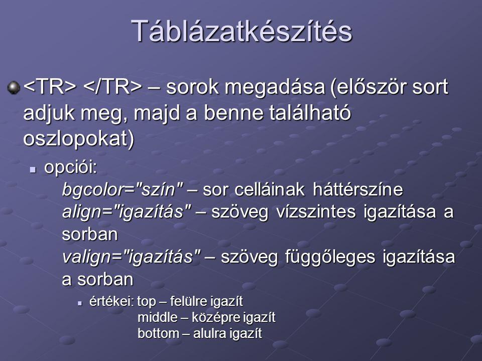 Táblázatkészítés <TR> </TR> – sorok megadása (először sort adjuk meg, majd a benne található oszlopokat)