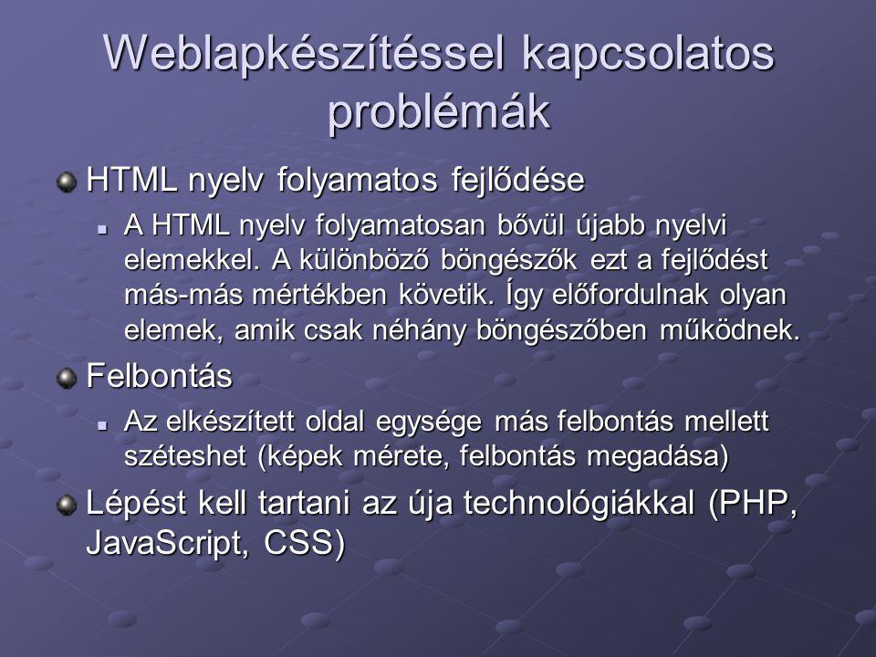 Weblapkészítéssel kapcsolatos problémák