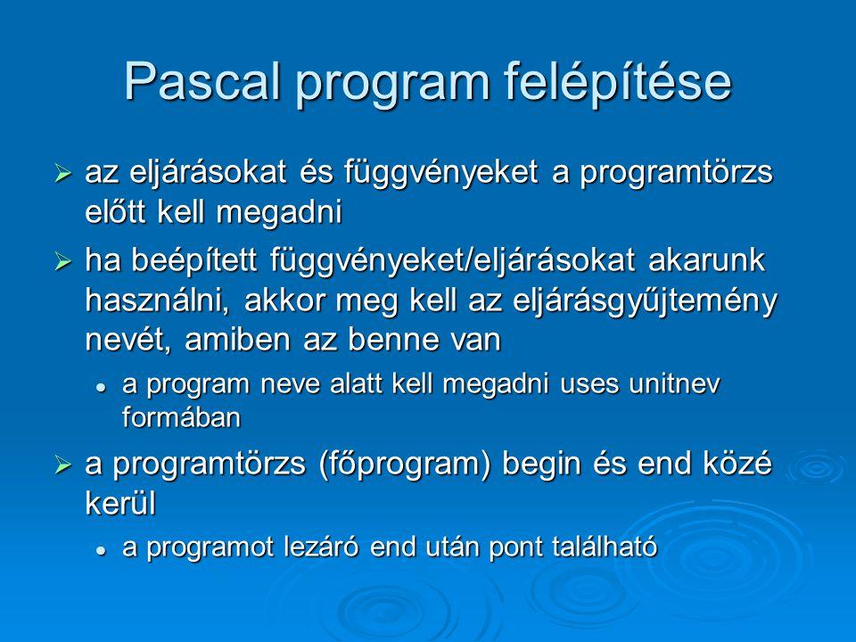 Pascal program felépítése