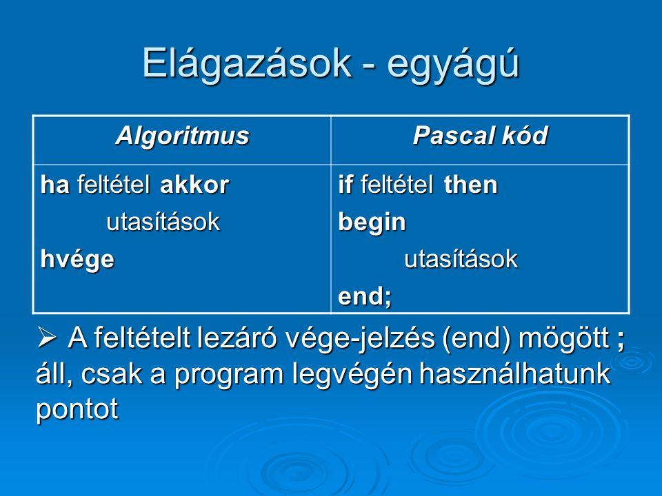 Elágazások - egyágú Algoritmus. Pascal kód. ha feltétel akkor. utasítások. hvége. if feltétel then.